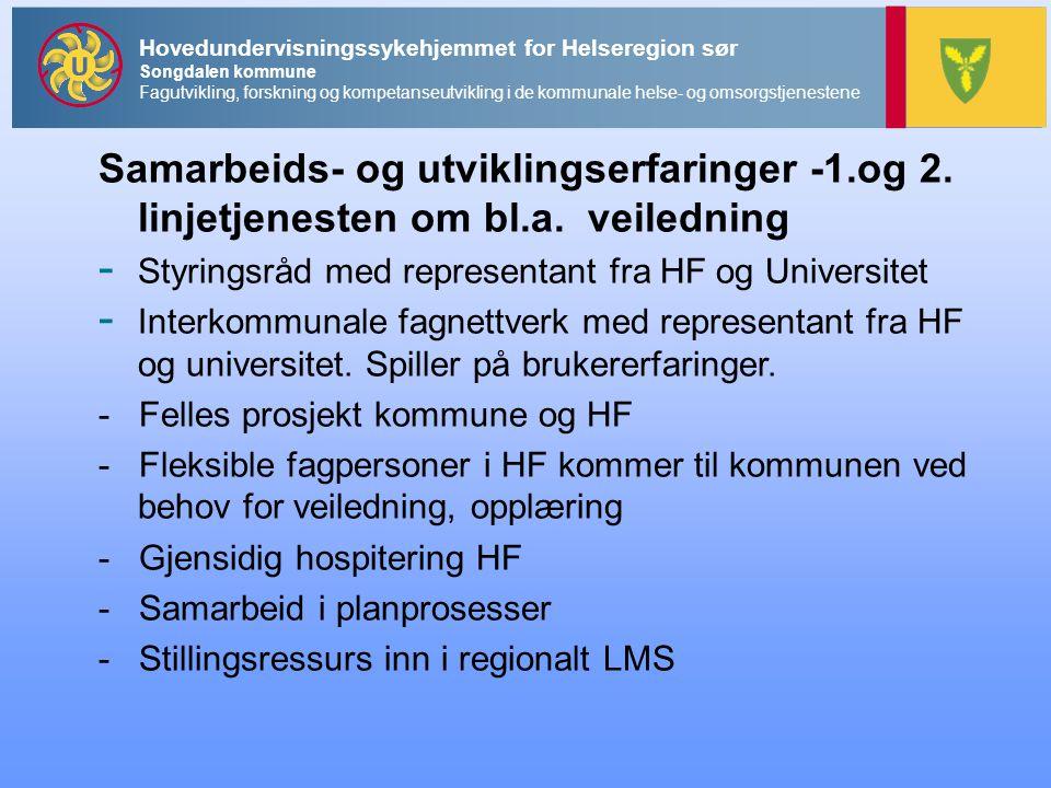 Samarbeids- og utviklingserfaringer -1.og 2.linjetjenesten om bl.a.