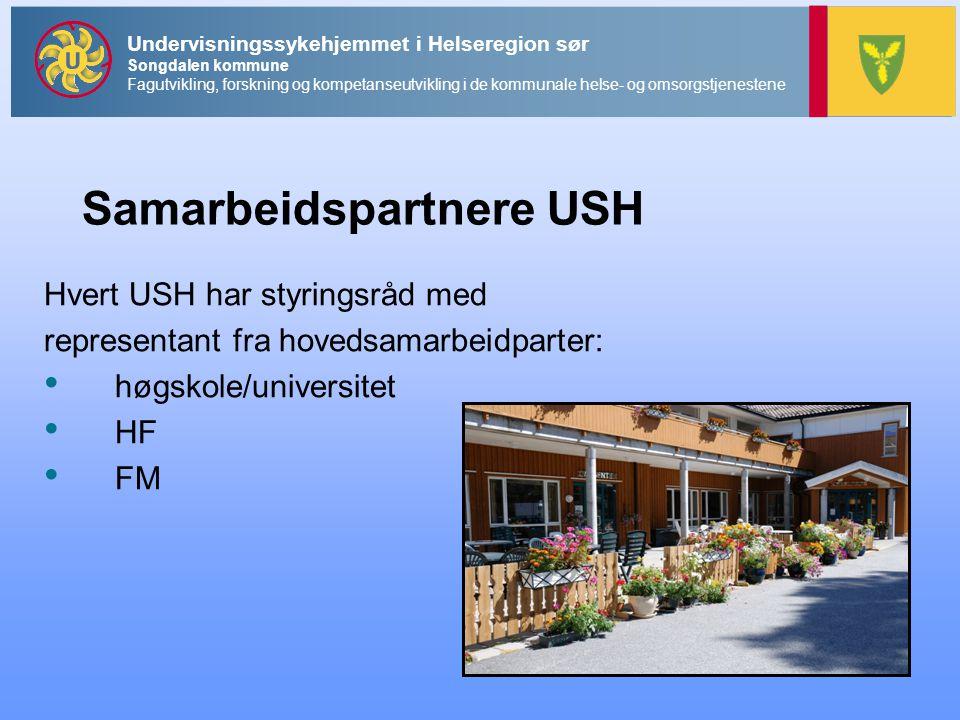 Undervisningssykehjemmet i Helseregion sør Songdalen kommune Fagutvikling, forskning og kompetanseutvikling i de kommunale helse- og omsorgstjenestene Samarbeidspartnere USH Hvert USH har styringsråd med representant fra hovedsamarbeidparter: • høgskole/universitet • HF • FM