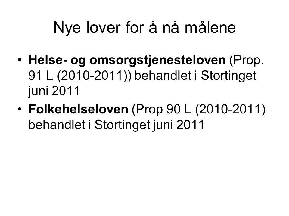 Nye lover for å nå målene •Helse- og omsorgstjenesteloven (Prop. 91 L (2010-2011)) behandlet i Stortinget juni 2011 •Folkehelseloven (Prop 90 L (2010-