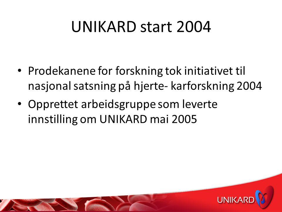 UNIKARD start 2004 • Prodekanene for forskning tok initiativet til nasjonal satsning på hjerte- karforskning 2004 • Opprettet arbeidsgruppe som leverte innstilling om UNIKARD mai 2005
