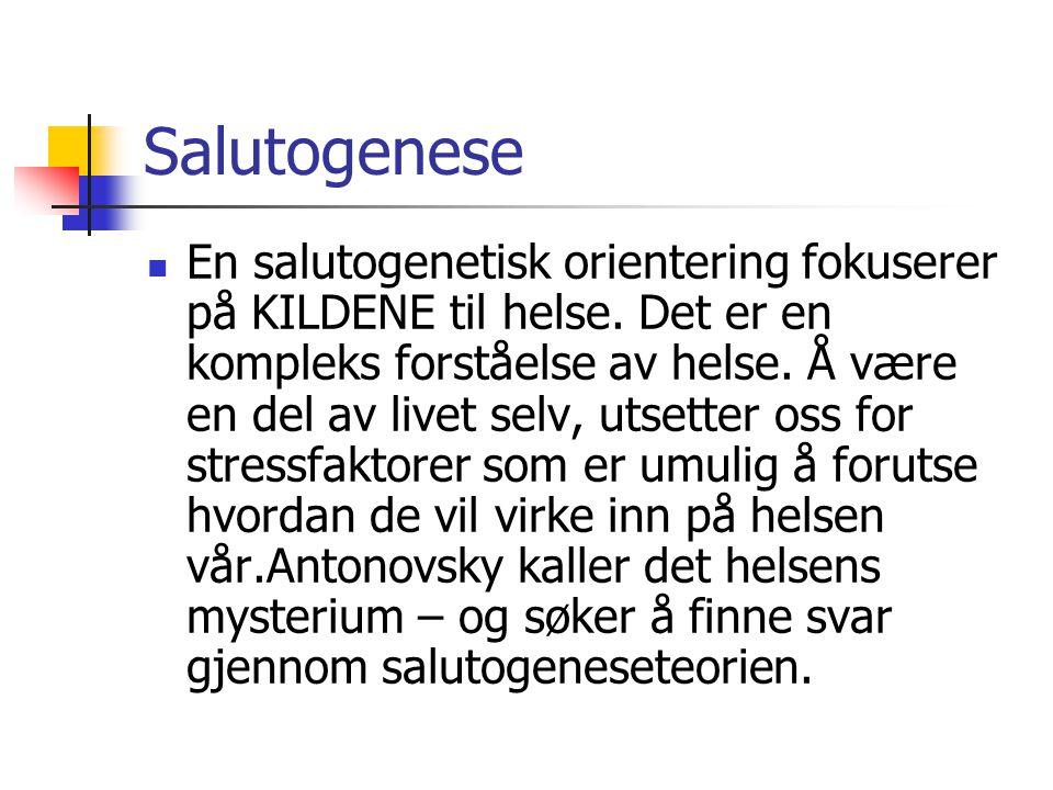 Salutogenese  En salutogenetisk orientering fokuserer på KILDENE til helse. Det er en kompleks forståelse av helse. Å være en del av livet selv, utse