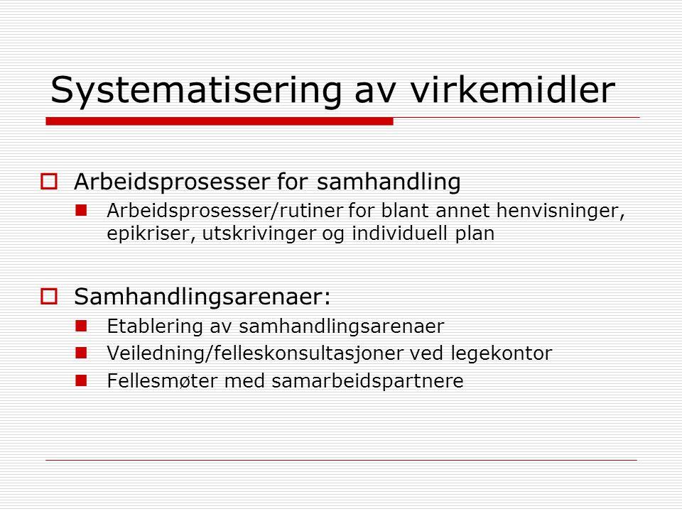 Systematisering av virkemidler  Arbeidsprosesser for samhandling  Arbeidsprosesser/rutiner for blant annet henvisninger, epikriser, utskrivinger og