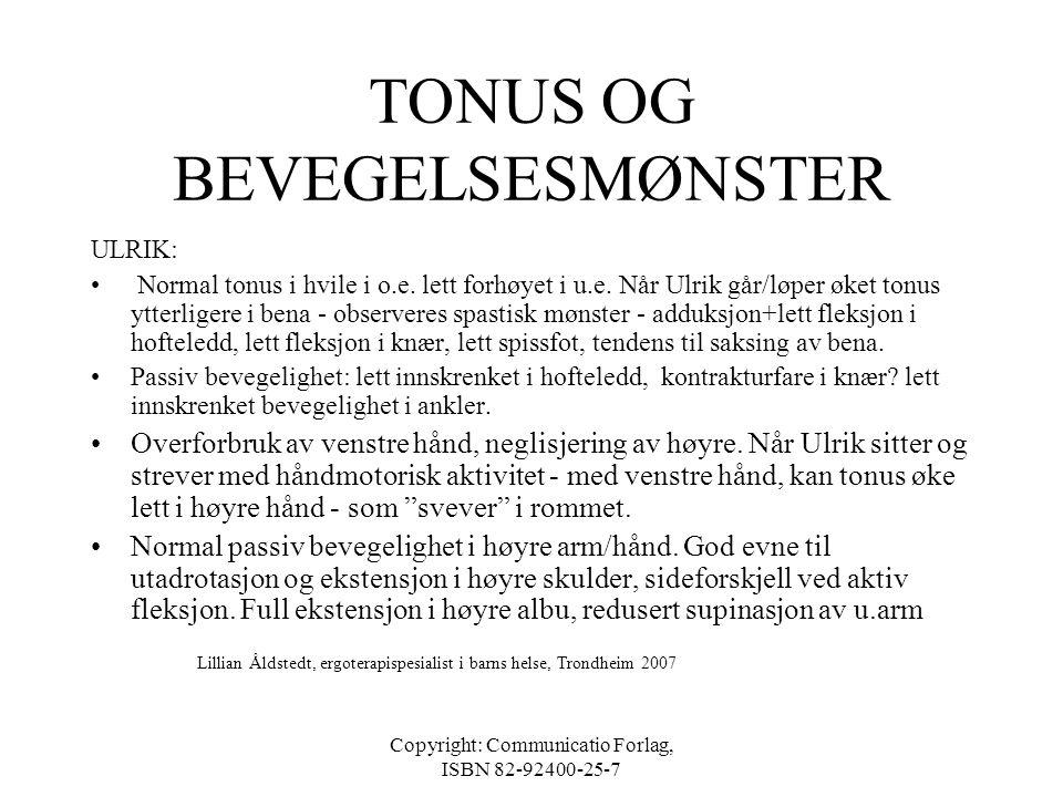 Copyright: Communicatio Forlag, ISBN 82-92400-25-7 FUNKSJONELLE MULIGHETER OG BEGRENSINGER •Hvilke aktiviteter mestrer barnet - kvaliteten på utførels