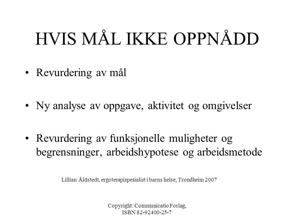 Copyright: Communicatio Forlag, ISBN 82-92400-25-7 EVALUERING •Opplæringsmål/behandlingsmål •Gjennomføring av tiltak, eventuelt barnets egen evaluerin