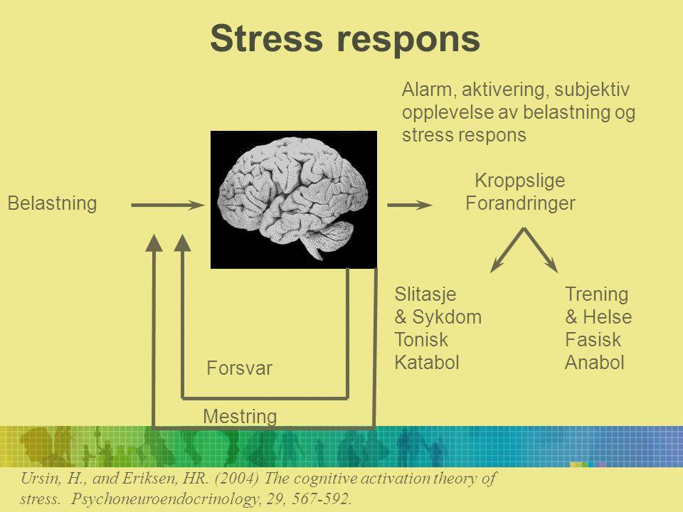 Alarmen Alarmen går når forventninger ikke møtes Til nye stimuli Når noe mangler Når det er en homeostatisk ubalanse Når det er en trussel mot organismen Alarmen oppstår når det er et misforhold mellom SET-VERDI og AKTUELL- VERDI