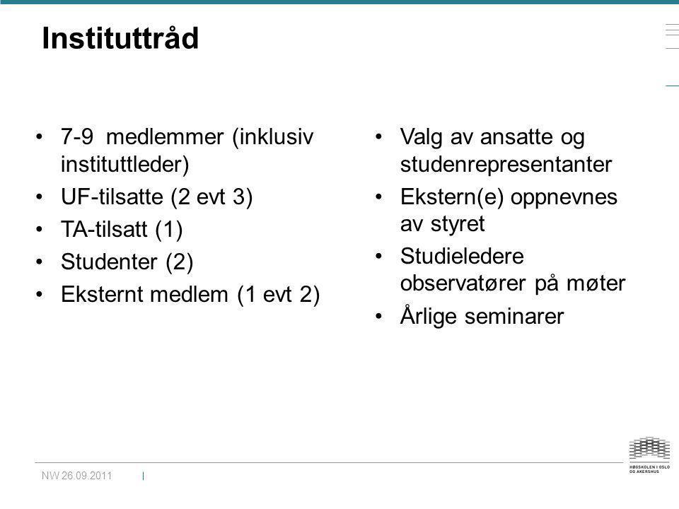 Instituttråd NW 26.09.2011 •7-9 medlemmer (inklusiv instituttleder) •UF-tilsatte (2 evt 3) •TA-tilsatt (1) •Studenter (2) •Eksternt medlem (1 evt 2) •