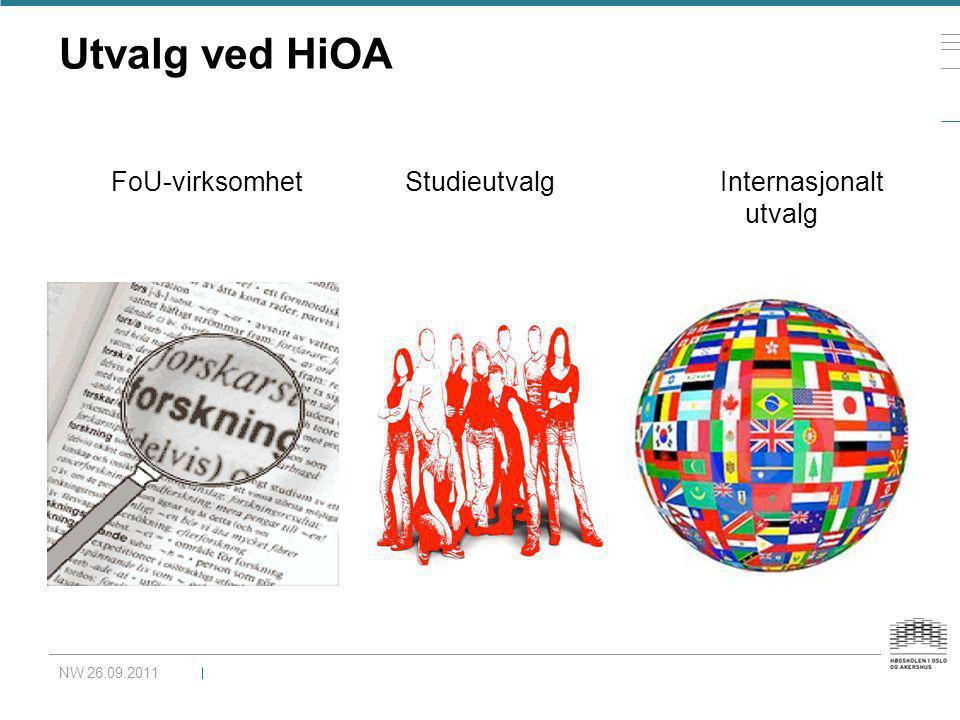 Utvalg ved HiOA NW 26.09.2011 FoU-virksomhet Studieutvalg Internasjonalt utvalg