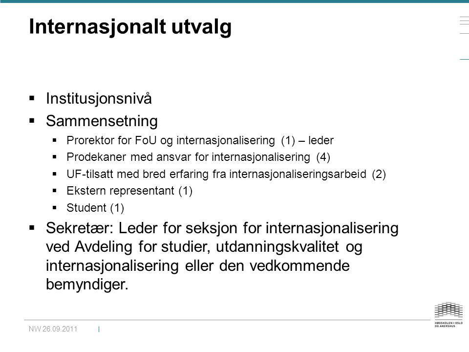 Internasjonalt utvalg  Institusjonsnivå  Sammensetning  Prorektor for FoU og internasjonalisering (1) – leder  Prodekaner med ansvar for internasj