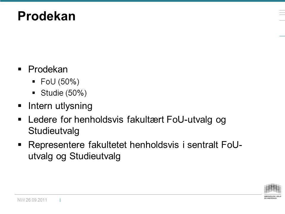 Prodekan  Prodekan  FoU (50%)  Studie (50%)  Intern utlysning  Ledere for henholdsvis fakultært FoU-utvalg og Studieutvalg  Representere fakulte