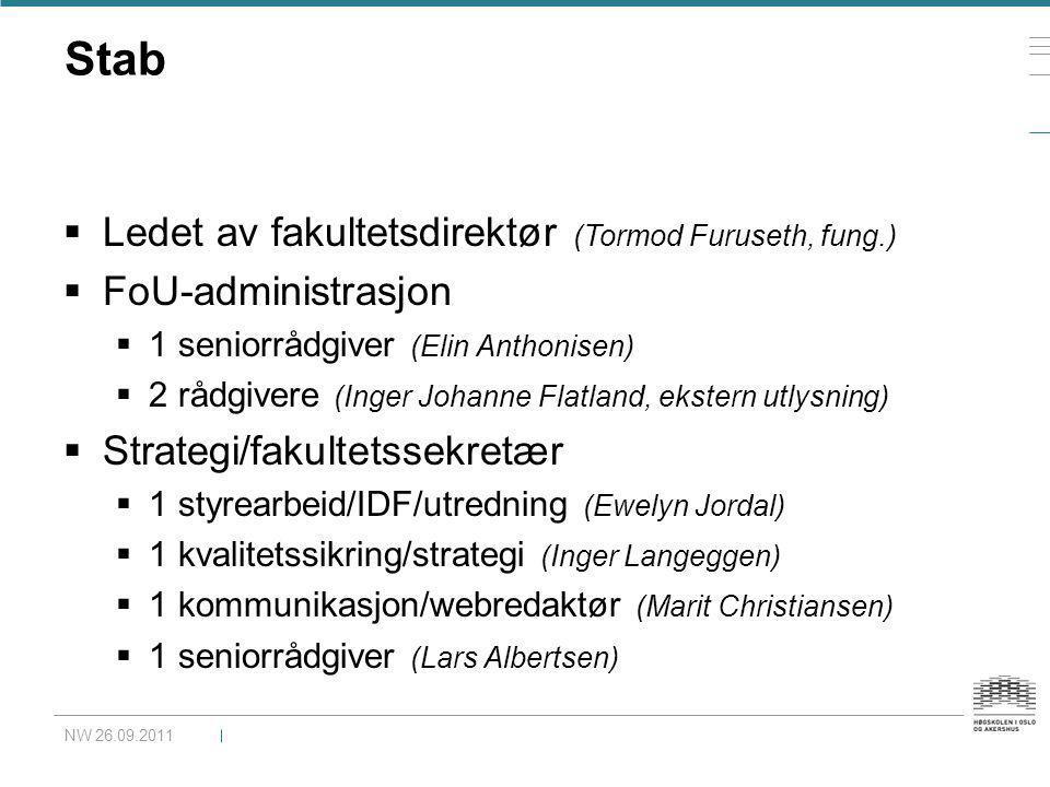 Stab  Ledet av fakultetsdirektør (Tormod Furuseth, fung.)  FoU-administrasjon  1 seniorrådgiver (Elin Anthonisen)  2 rådgivere (Inger Johanne Flat