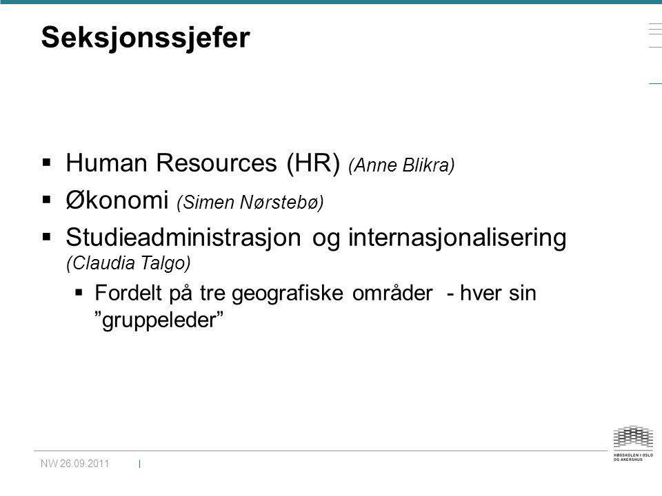Seksjonssjefer  Human Resources (HR) (Anne Blikra)  Økonomi (Simen Nørstebø)  Studieadministrasjon og internasjonalisering (Claudia Talgo)  Fordel