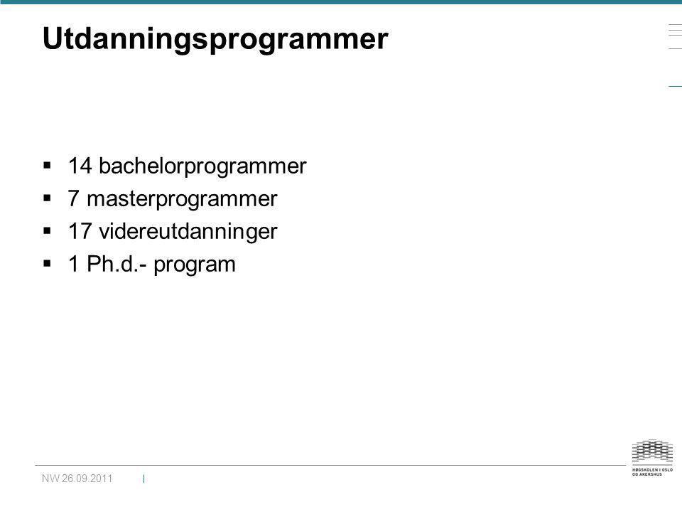 Utdanningsprogrammer  14 bachelorprogrammer  7 masterprogrammer  17 videreutdanninger  1 Ph.d.- program NW 26.09.2011