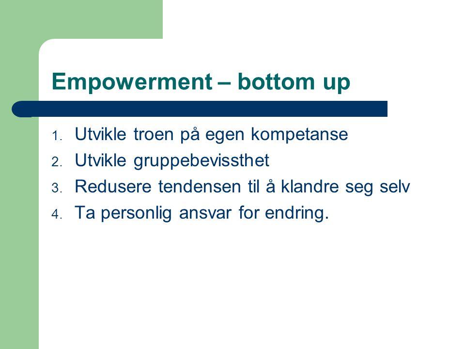 Empowerment – bottom up 1.Utvikle troen på egen kompetanse 2.
