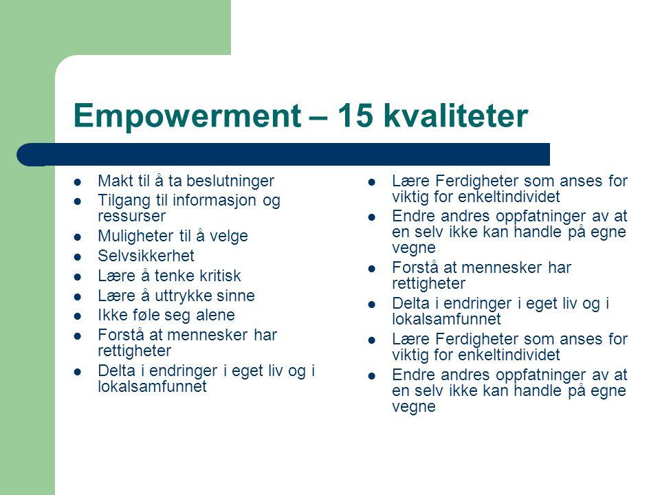 Empowerment – bottom up 1. Utvikle troen på egen kompetanse 2.