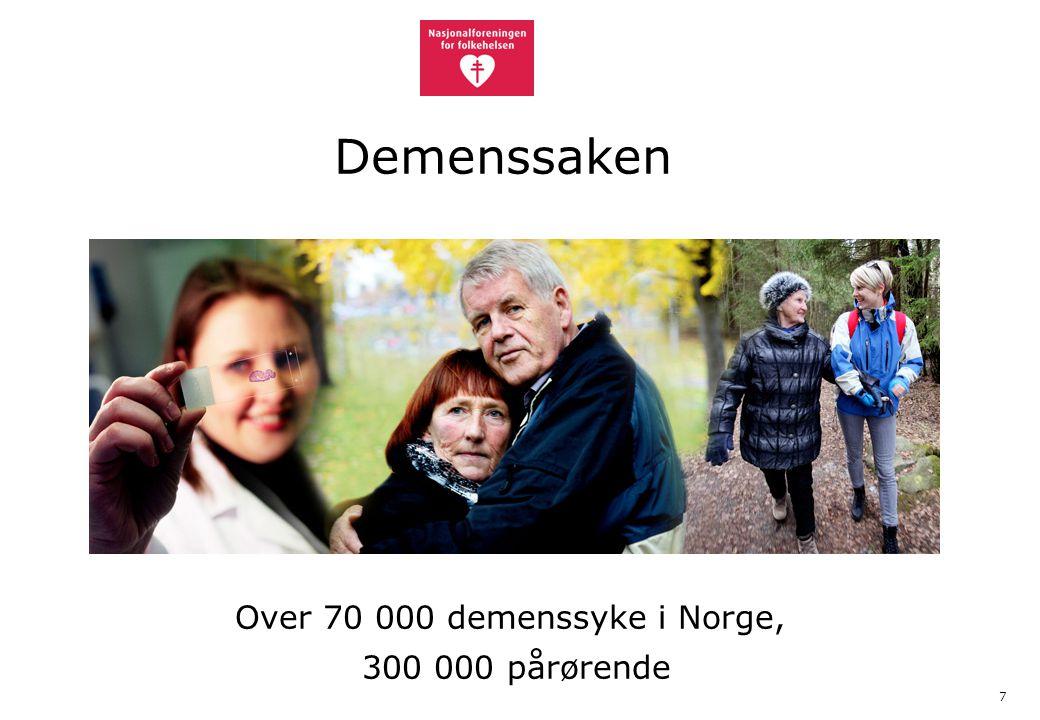 7 Demenssaken Over 70 000 demenssyke i Norge, 300 000 pårørende