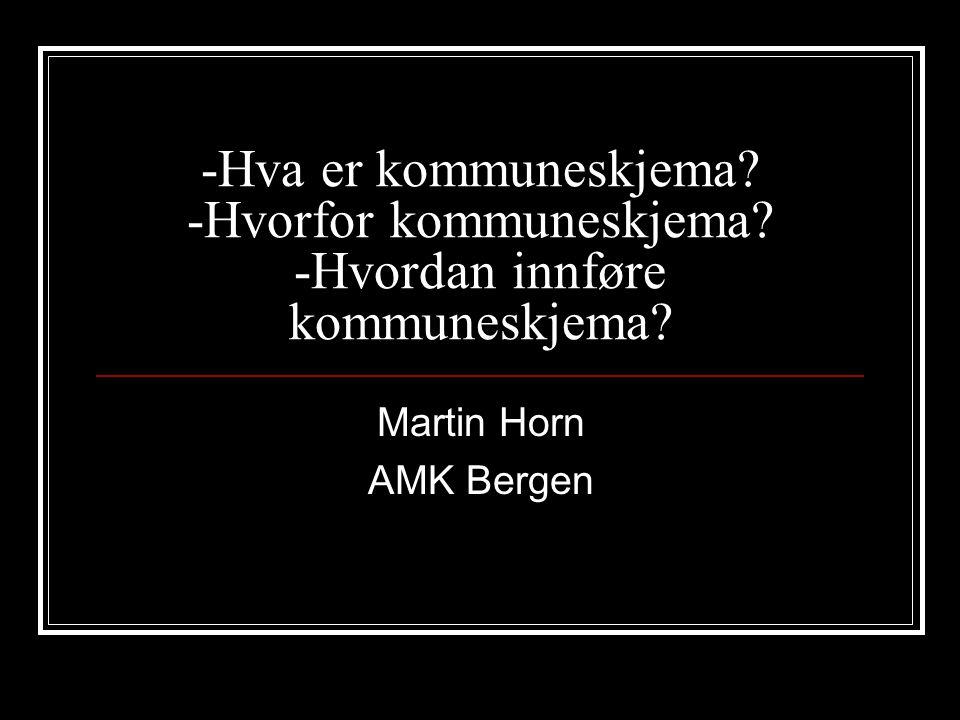 -Hva er kommuneskjema? -Hvorfor kommuneskjema? -Hvordan innføre kommuneskjema? Martin Horn AMK Bergen