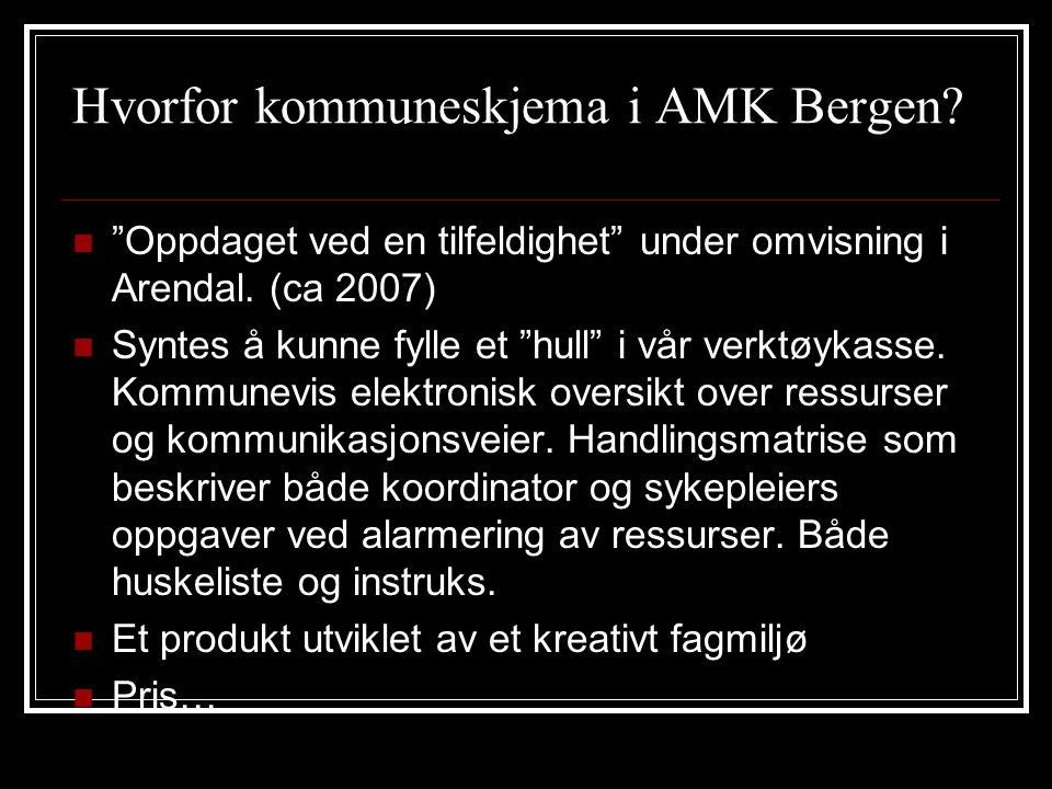 """Hvorfor kommuneskjema i AMK Bergen?  """"Oppdaget ved en tilfeldighet"""" under omvisning i Arendal. (ca 2007)  Syntes å kunne fylle et """"hull"""" i vår verkt"""