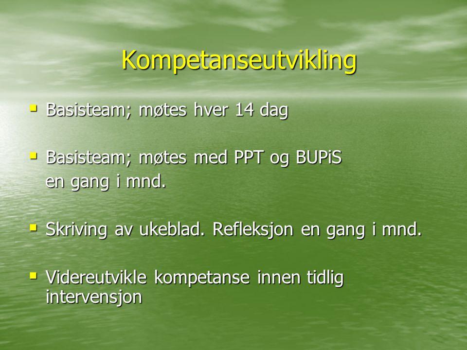 Kompetanseutvikling  Basisteam; møtes hver 14 dag  Basisteam; møtes med PPT og BUPiS en gang i mnd. en gang i mnd.  Skriving av ukeblad. Refleksjon