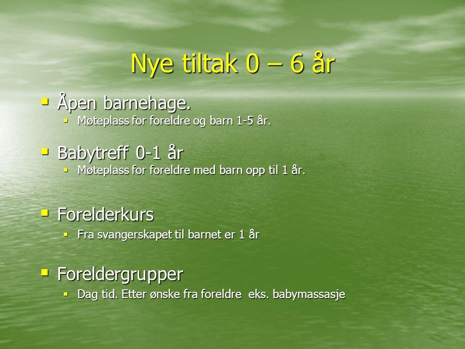 Nye tiltak 0 – 6 år  Åpen barnehage.  Møteplass for foreldre og barn 1-5 år.