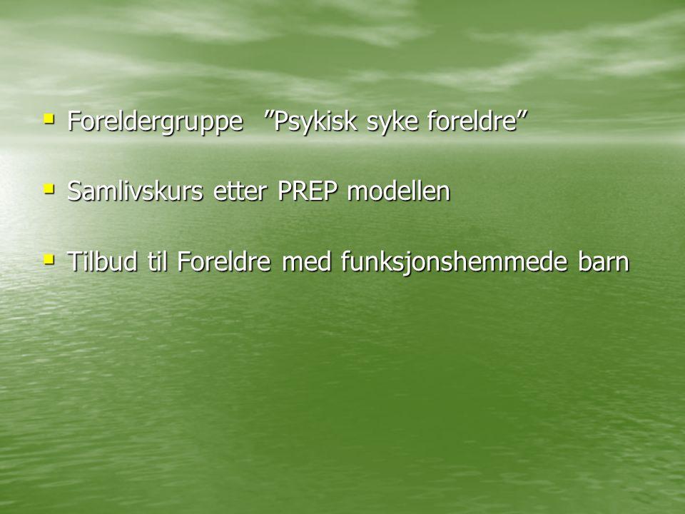 """ Foreldergruppe """"Psykisk syke foreldre""""  Samlivskurs etter PREP modellen  Tilbud til Foreldre med funksjonshemmede barn"""