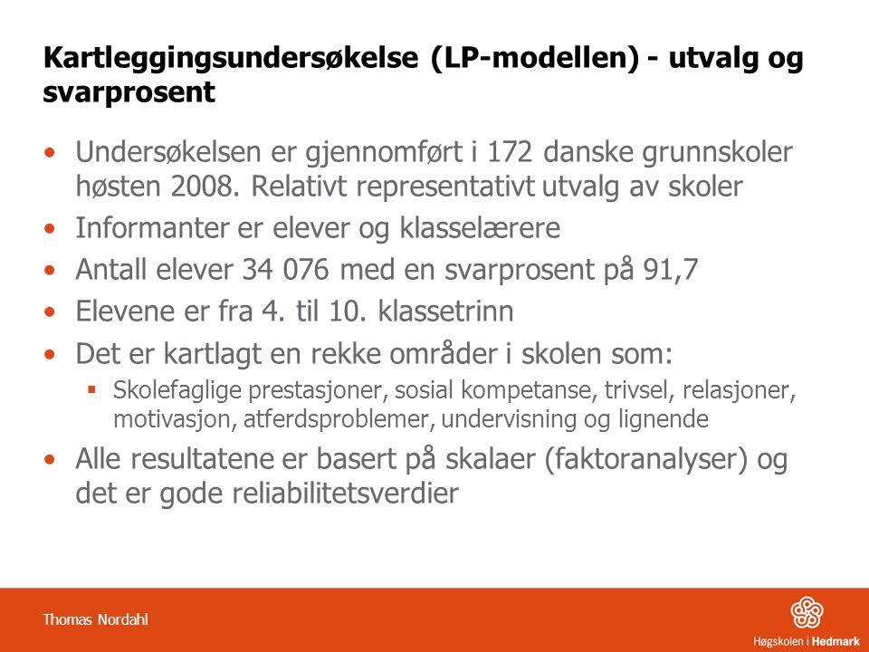 Kartleggingsundersøkelse (LP-modellen) - utvalg og svarprosent •Undersøkelsen er gjennomført i 172 danske grunnskoler høsten 2008. Relativt representa