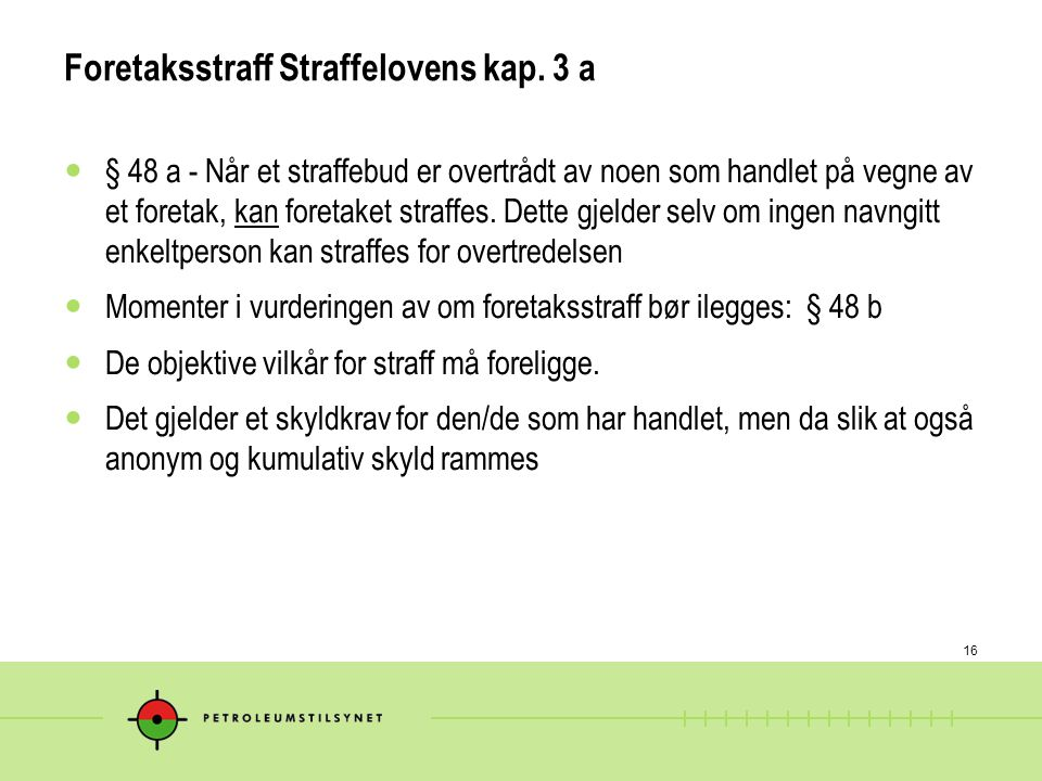 16 Foretaksstraff Straffelovens kap.