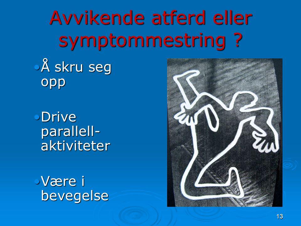 13 Avvikende atferd eller symptommestring ? •Å skru seg opp •Drive parallell- aktiviteter •Være i bevegelse