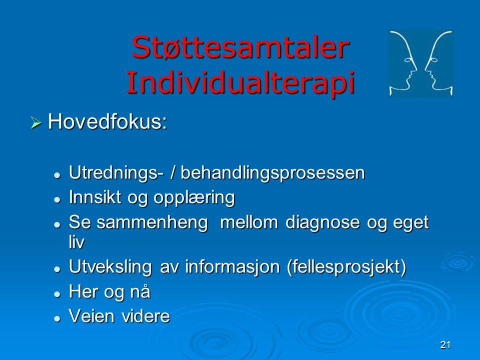 21 Støttesamtaler Individualterapi  Hovedfokus:  Utrednings- / behandlingsprosessen  Innsikt og opplæring  Se sammenheng mellom diagnose og eget l