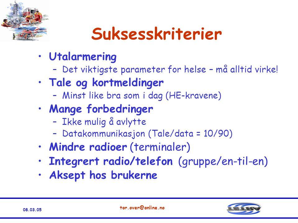 08.03.05 tor.over@online.no Suksesskriterier •Utalarmering –Det viktigste parameter for helse – må alltid virke.