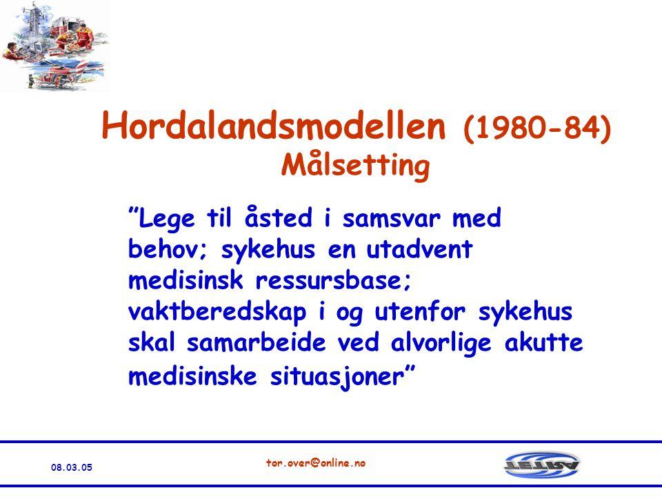 08.03.05 tor.over@online.no Hordalandsmodellen (1980-84) Målsetting Lege til åsted i samsvar med behov; sykehus en utadvent medisinsk ressursbase; vaktberedskap i og utenfor sykehus skal samarbeide ved alvorlige akutte medisinske situasjoner