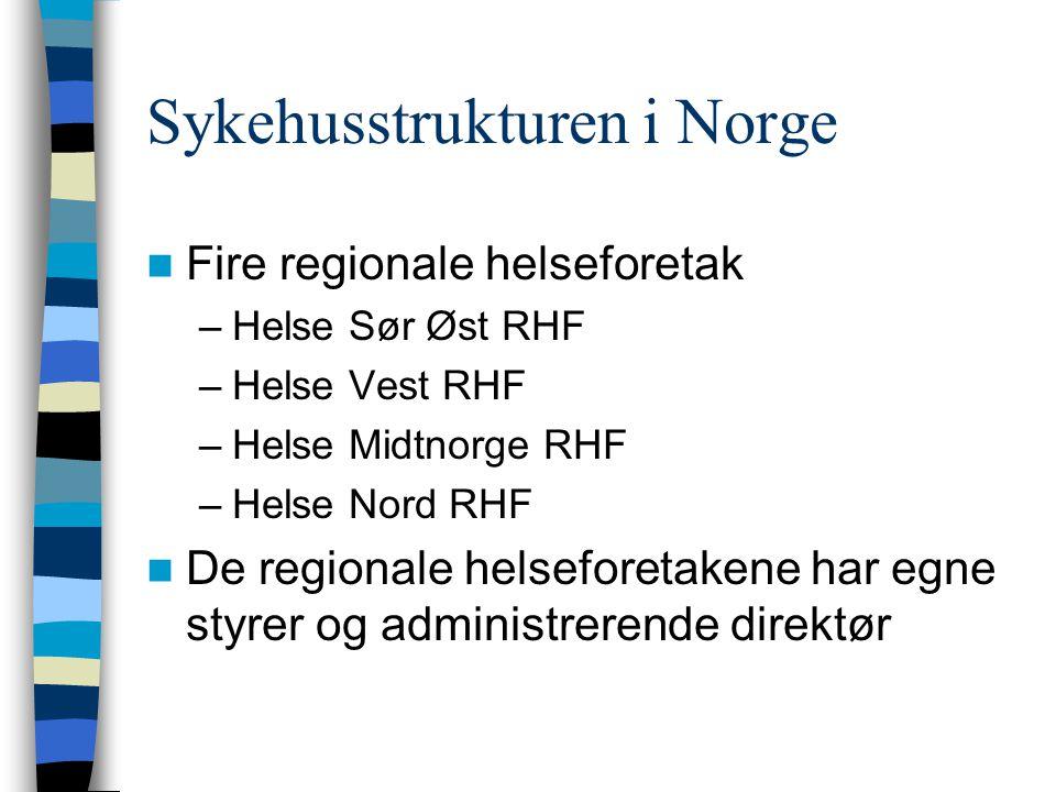 Sykehusstrukturen i Norge  Fire regionale helseforetak –Helse Sør Øst RHF –Helse Vest RHF –Helse Midtnorge RHF –Helse Nord RHF  De regionale helsefo