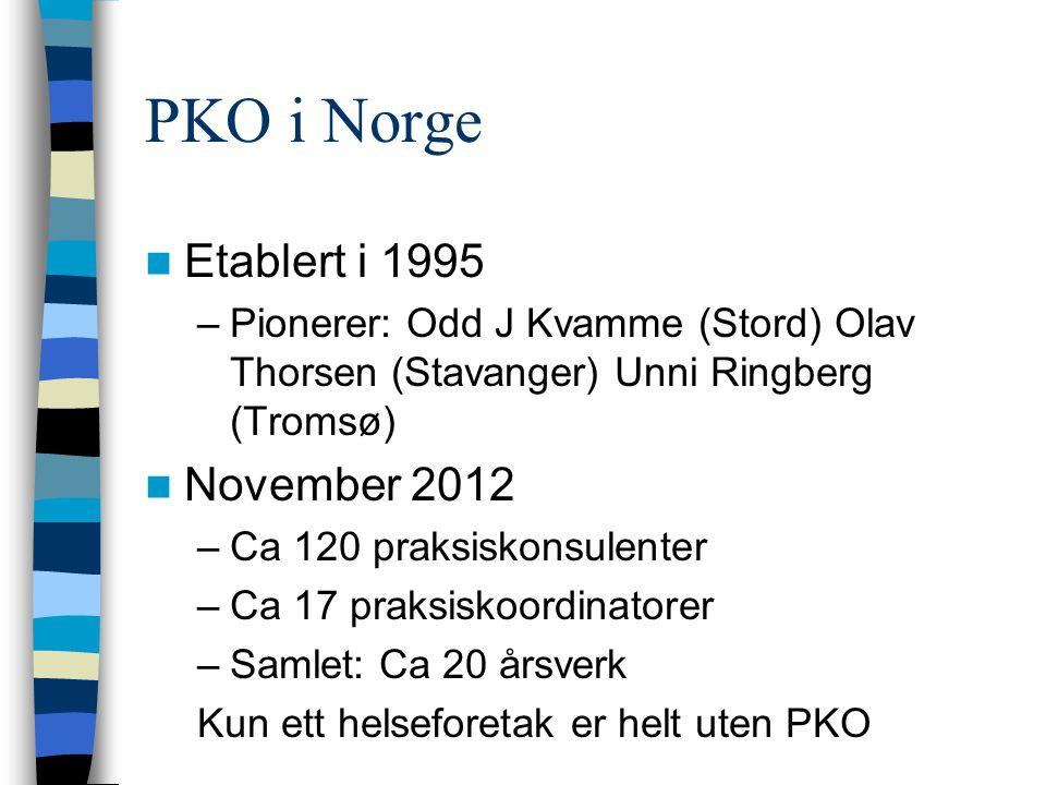 PKO i Norge  Etablert i 1995 –Pionerer: Odd J Kvamme (Stord) Olav Thorsen (Stavanger) Unni Ringberg (Tromsø)  November 2012 –Ca 120 praksiskonsulent