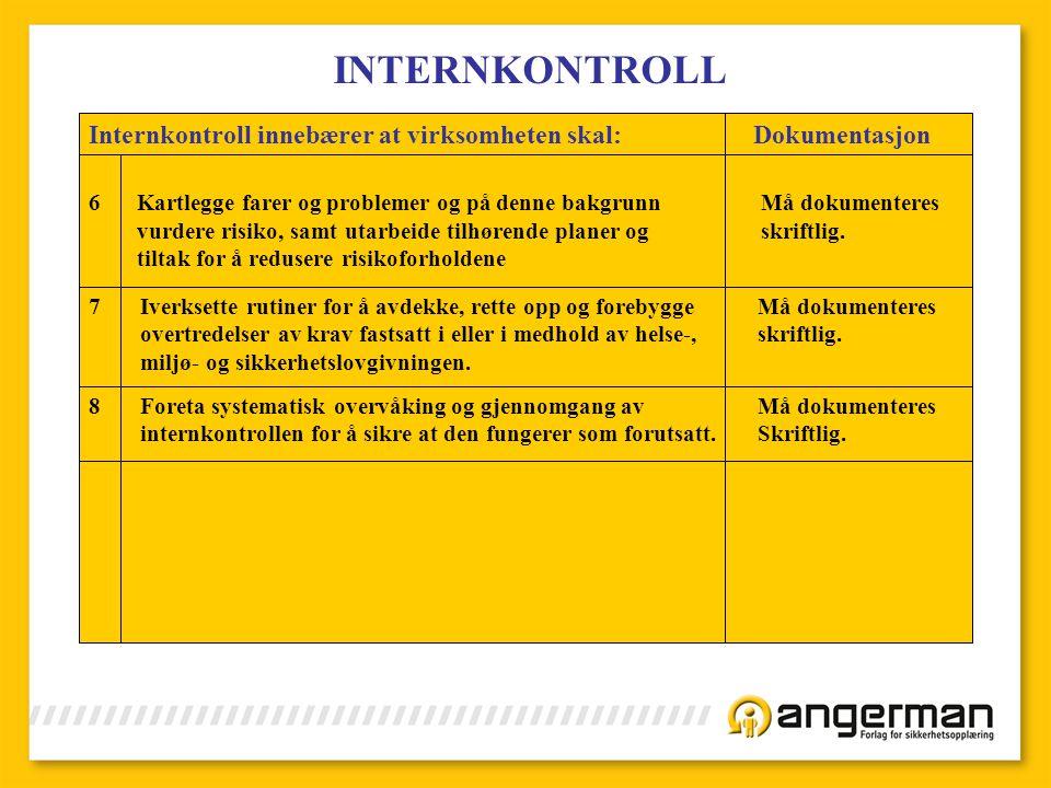INTERNKONTROLL Internkontroll innebærer at virksomheten skal: Dokumentasjon 6Kartlegge farer og problemer og på denne bakgrunn Må dokumenteres vurdere