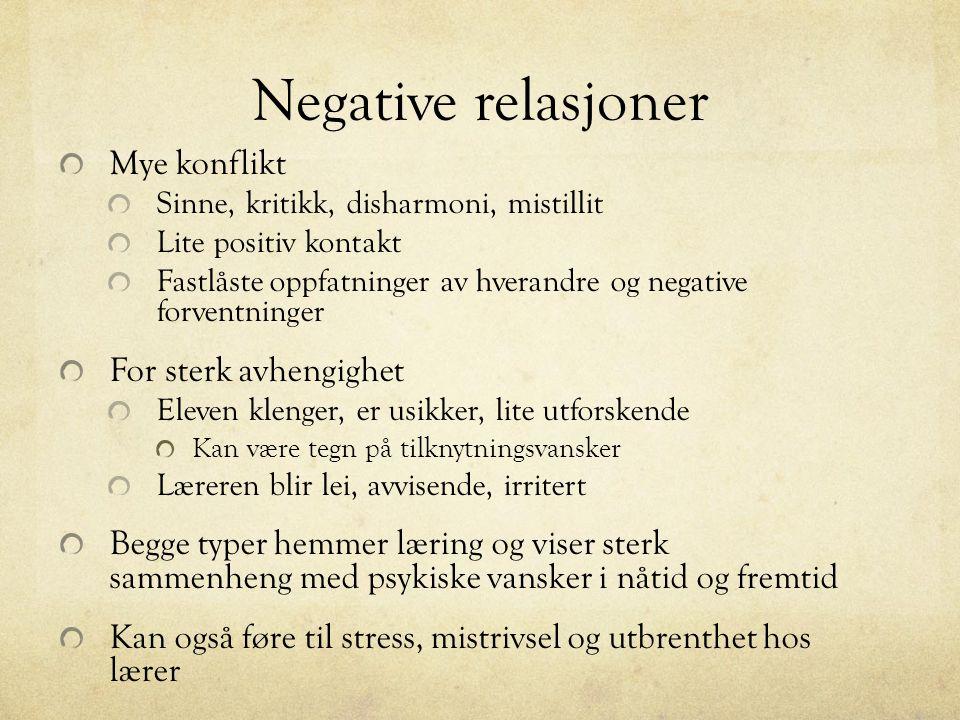 Negative relasjoner Mye konflikt Sinne, kritikk, disharmoni, mistillit Lite positiv kontakt Fastlåste oppfatninger av hverandre og negative forventnin