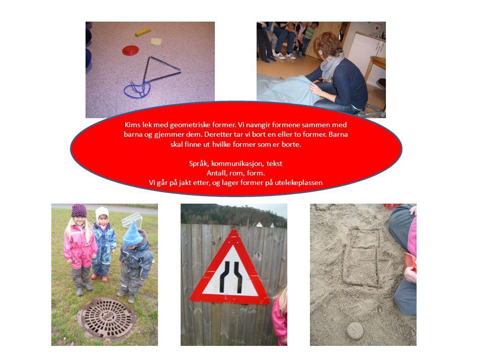 Kims lek med geometriske former. Vi navngir formene sammen med barna og gjemmer dem. Deretter tar vi bort en eller to former. Barna skal finne ut hvil