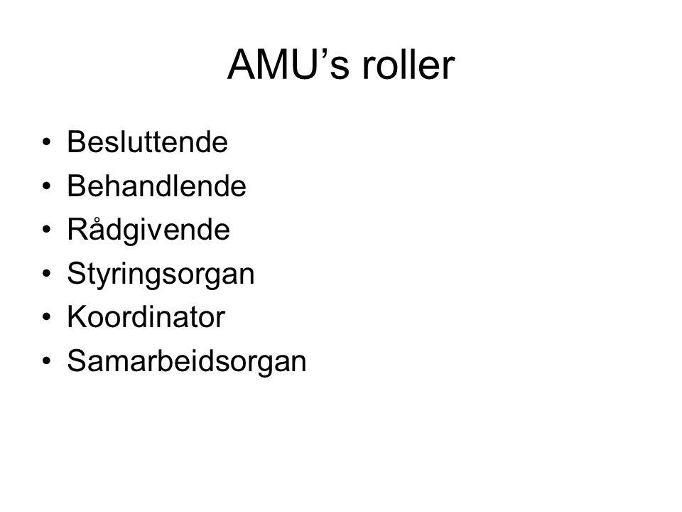 AMU's roller •Besluttende •Behandlende •Rådgivende •Styringsorgan •Koordinator •Samarbeidsorgan