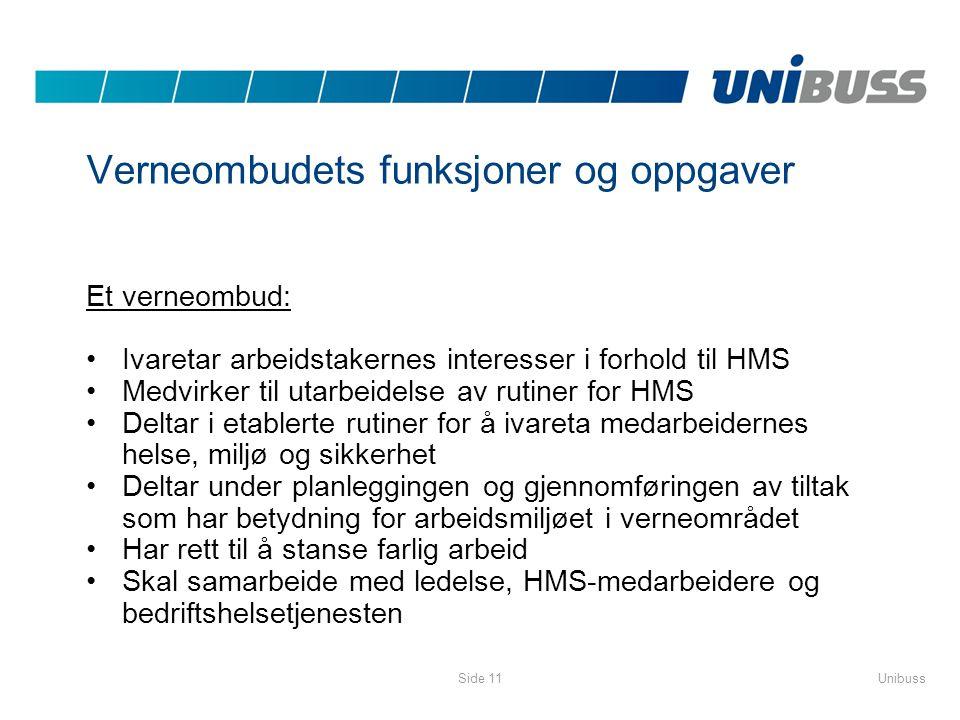 UnibussSide 11 Verneombudets funksjoner og oppgaver Et verneombud: •Ivaretar arbeidstakernes interesser i forhold til HMS •Medvirker til utarbeidelse