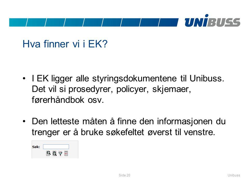 UnibussSide 20 Hva finner vi i EK? •I EK ligger alle styringsdokumentene til Unibuss. Det vil si prosedyrer, policyer, skjemaer, førerhåndbok osv. •De