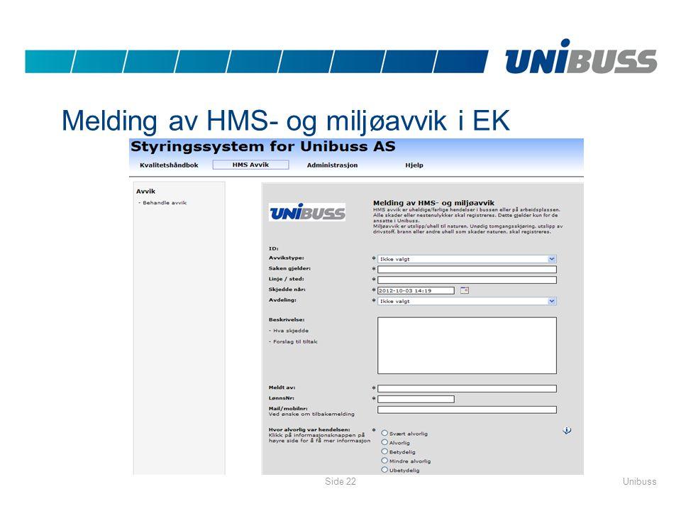 UnibussSide 22 Melding av HMS- og miljøavvik i EK