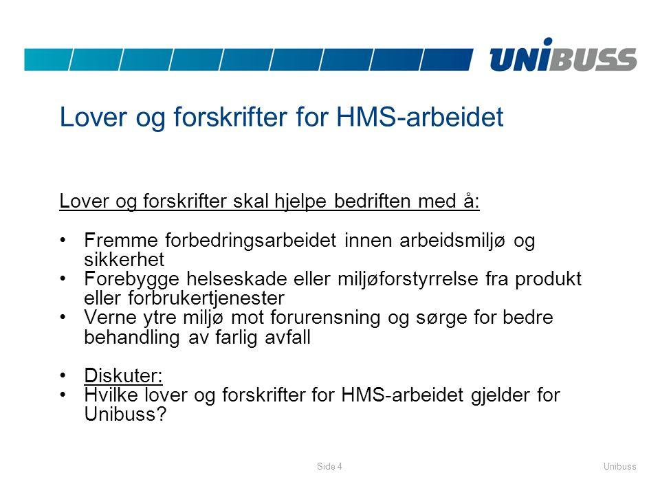 UnibussSide 4 Lover og forskrifter for HMS-arbeidet Lover og forskrifter skal hjelpe bedriften med å: •Fremme forbedringsarbeidet innen arbeidsmiljø o