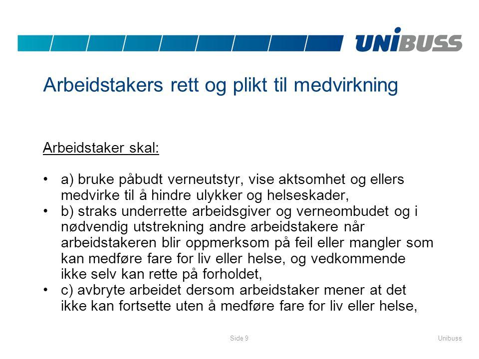 UnibussSide 9 Arbeidstakers rett og plikt til medvirkning Arbeidstaker skal: •a) bruke påbudt verneutstyr, vise aktsomhet og ellers medvirke til å hin