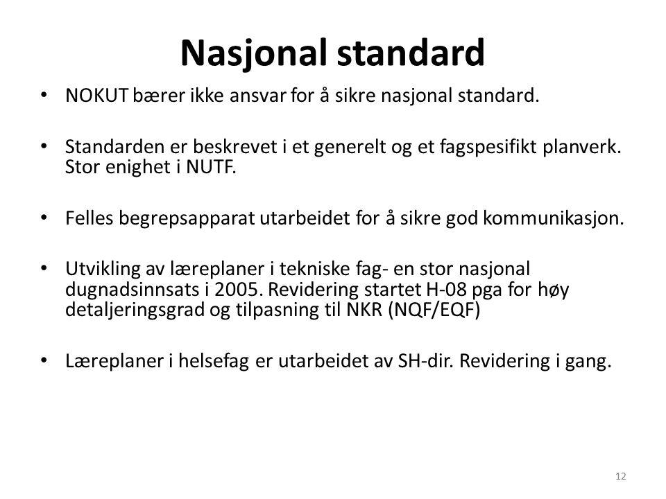 12 Nasjonal standard • NOKUT bærer ikke ansvar for å sikre nasjonal standard.