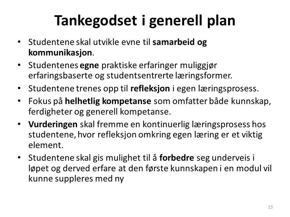 13 Tankegodset i generell plan • Studentene skal utvikle evne til samarbeid og kommunikasjon.
