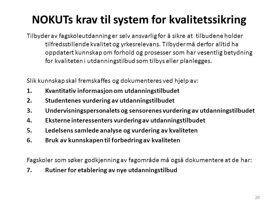 20 NOKUTs krav til system for kvalitetssikring Tilbyder av fagskoleutdanning er selv ansvarlig for å sikre at tilbudene holder tilfredsstillende kvalitet og yrkesrelevans.