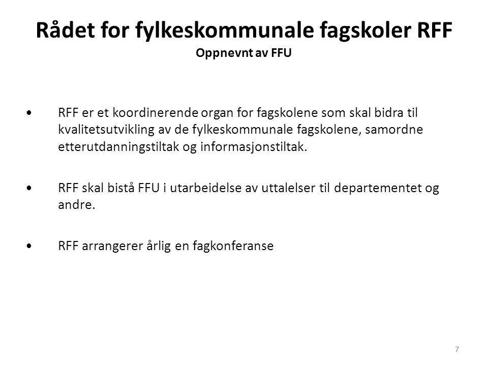 7 Rådet for fylkeskommunale fagskoler RFF Oppnevnt av FFU •RFF er et koordinerende organ for fagskolene som skal bidra til kvalitetsutvikling av de fylkeskommunale fagskolene, samordne etterutdanningstiltak og informasjonstiltak.