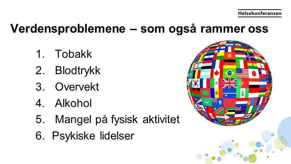 Verdensproblemene – som også rammer oss 1. Tobakk 2. Blodtrykk 3. Overvekt 4. Alkohol 5. Mangel på fysisk aktivitet 6.Psykiske lidelser