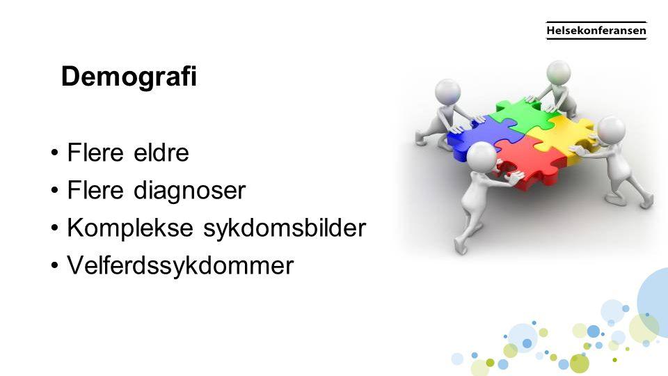Demografi • Flere eldre • Flere diagnoser • Komplekse sykdomsbilder • Velferdssykdommer