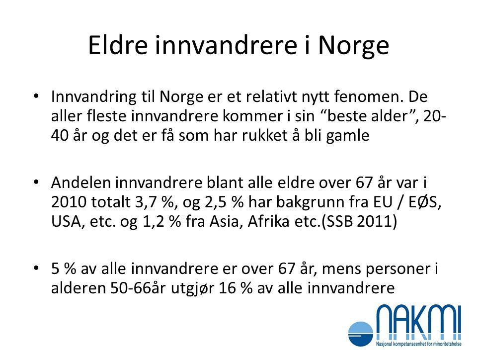 """Eldre innvandrere i Norge • Innvandring til Norge er et relativt nytt fenomen. De aller fleste innvandrere kommer i sin """"beste alder"""", 20- 40 år og de"""