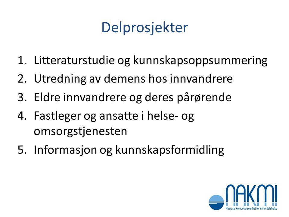 Delprosjekter 1.Litteraturstudie og kunnskapsoppsummering 2.Utredning av demens hos innvandrere 3.Eldre innvandrere og deres pårørende 4.Fastleger og