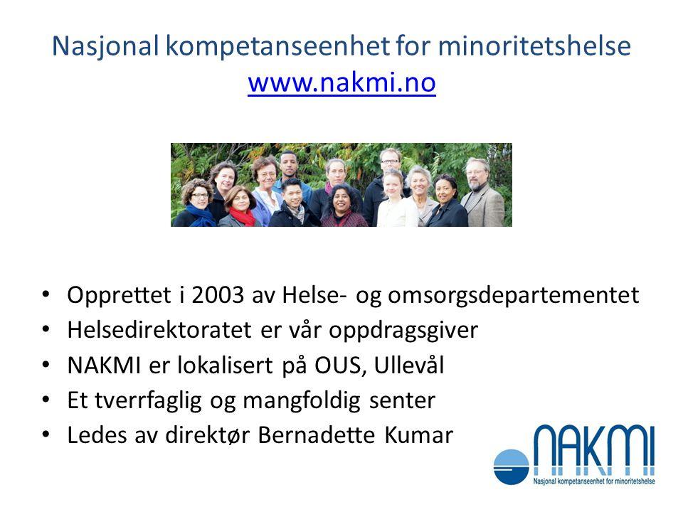 NAKMIs visjon Mennesker med etnisk minoritetsbakgrunn i Norge skal kunne realisere sitt helsepotensiale på lik linje med majoritetsbefolkningen GOD HELSE FOR ALLE